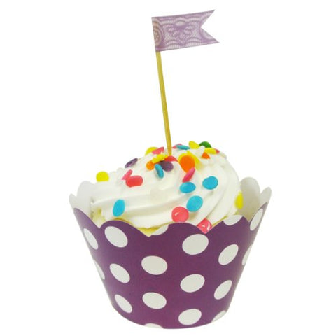 AllyDrew Standard Size Polka Dots Cupcake Wrappers (Set of 20), Purple