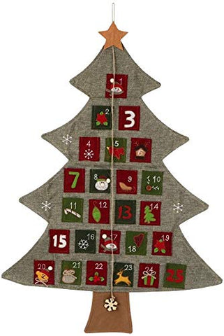 LIMINGZE Christmas Tree Ornaments Advent Calendar Christmas Linen Calendar Hanging Ornament for Shopping Mall Hotel Home Decor