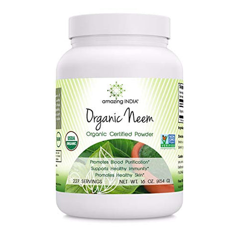 Amazing India USDA Certified Organic Neem Powder (Non-GMO) 16oz - Promotes Blood Purification, Healthy Immunity & Healthy Skin