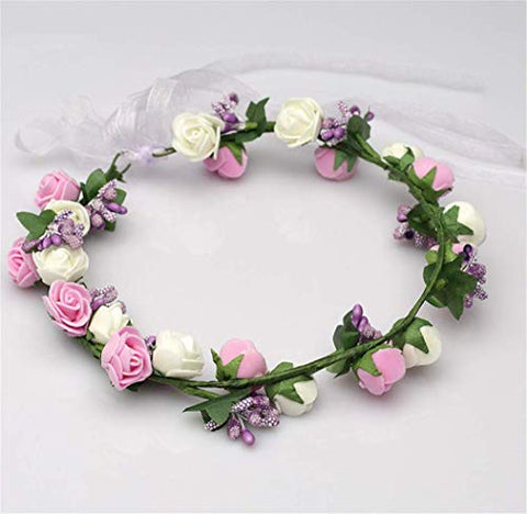 Forest & Rural Style Small Pure and Fresh Queen Princess Bridal Flower Garland Wristband Wreath Headband Crown Hair Decor