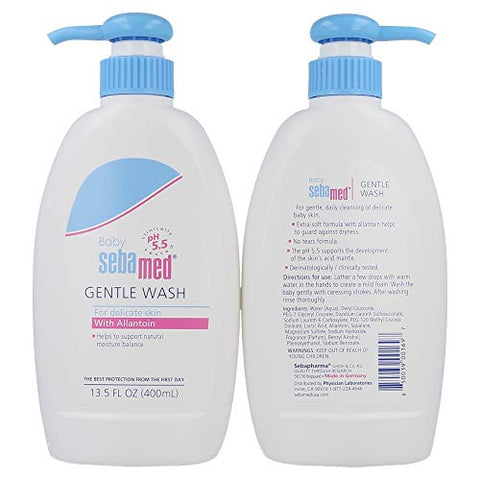 Sebamed Baby Gentle Wash Extra Soft Ultra Mild Hydrating Cleanser for Delicate Baby Skin 13.5 Fluid Ounces (400mL) Pack of 2