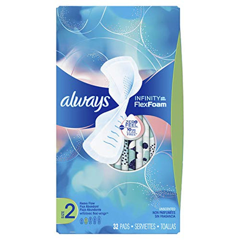 Always Infinity Feminine Pads for Women, Size 2, Heavy Flow Absorbency, with Wings, Unscented, 32 Count - Value Pack of 2