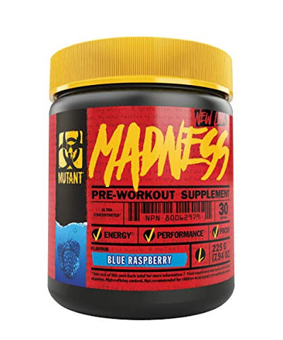 Mutant Madness - Redefines the Pre-Workout Experience and Takes it to a Whole New Extreme Level, Engineered Exclusively for High Intensity Workouts, 225g  Blue Raspberry