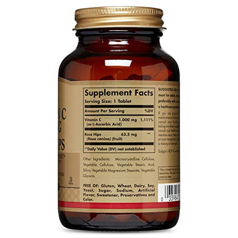 Solgar Vitamin C with Rose Hips Tablets, 1000 Mg, 100 Count