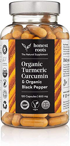Honest Roots Organic Turmeric Curcumin Supplement with Bioperine - Pure Turmeric Curcumin with Black Pepper - Joint Pain Relief - 120 Capsules - 600 mg - Vegan - Herbal Supplements for Men and Women