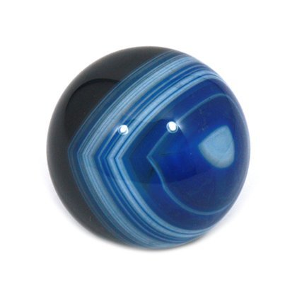CrystalAge Banded Agate Sphere ~ Cobalt Blue - SAGB Small