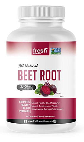 Organic Beet Root Capsules - Strongest DNA Verified 2400mg Per Serving - Nitric Oxide Booster, Healthy Blood Pressure, Improved Cardiovascular & Exercise Performance, Anti-Inflammatory; Vegan Friendly