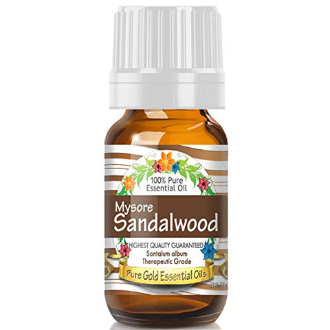 Pure Gold East Indian Mysore Sandalwood Essential Oil, 100% Natural & Undiluted, 10ml