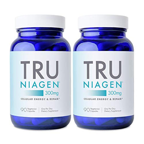 TRU NIAGEN NAD+ Booster Supplement Nicotinamide Riboside NR for Energy Metabolism, Cellular Repair & Healthy Aging (Patented Formula) More Efficient Than NMN - 90 Count - 300mg (6 Months / 2 Bottles)