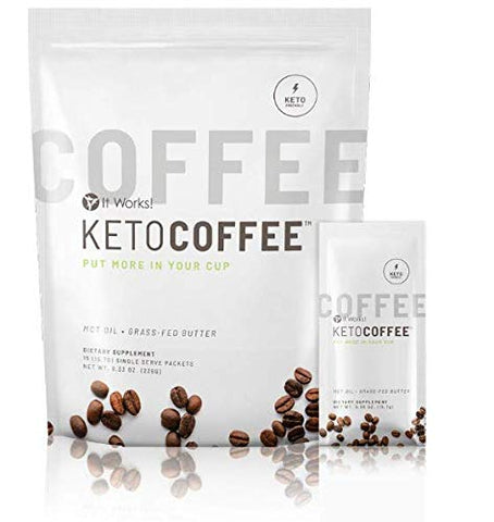 It works Keto Coffee KetoCoffee 15 Individual Servings Per Bag, 15.31 Grams Proprietary Ketogenic Blend New Formula!