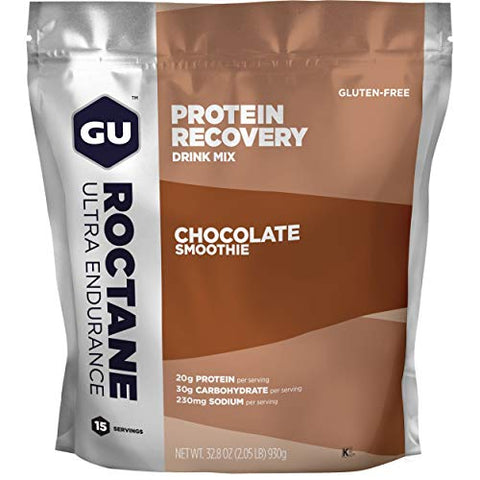 Gu Energy Roctane Ultra Endurance Protein Recovery Drink Mix, 15-Serving Pouch, Chocolate Smoothie