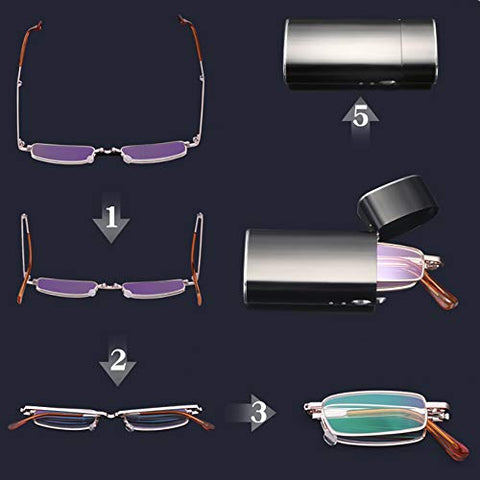 Mini Folding Reading Glasses, Portable Glasses for Men and Women, Stylish Ultra-Light, High-Definition Resin Lenses, Unisex +1.0 +1.5 +2.0 +2.5 +3.0