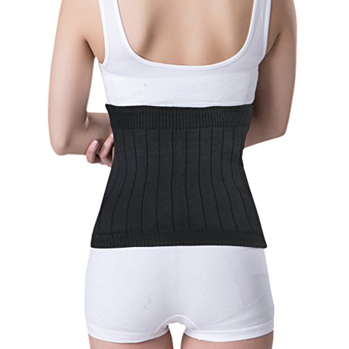 Warm Soft Cashmere Waist Kidney Binder Supports Belt Breathable Thermal Waistband Stomach Abdominal Warmer Wrap Lumbar Back Brace Band for Men Women Black