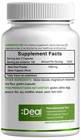 2 Pack Beet Root Capsules 1000mg, 200 Counts, 3 Months Supply, Beet Root Powder Capsules, Supports Blood Pressure, Healthy Performance and Immune System - Ultra Nitric Oxide Booster
