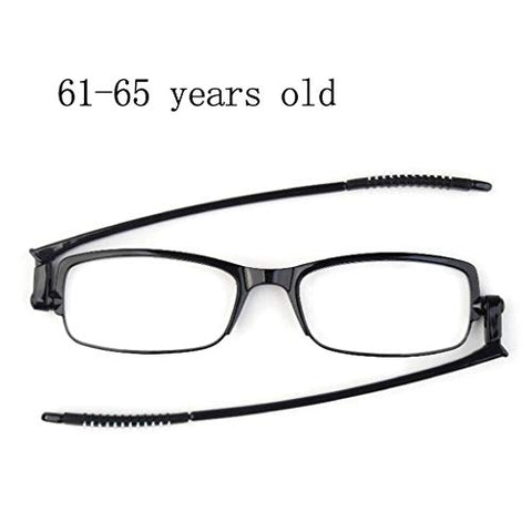 Reading Glasses 360 Free-Rotating Folding Design, 5.2mm Ultra-Thin Experience Frame Weighs 6.9g, Folding Reader, Integrated Nose Pad Design,(Black/Transparent)