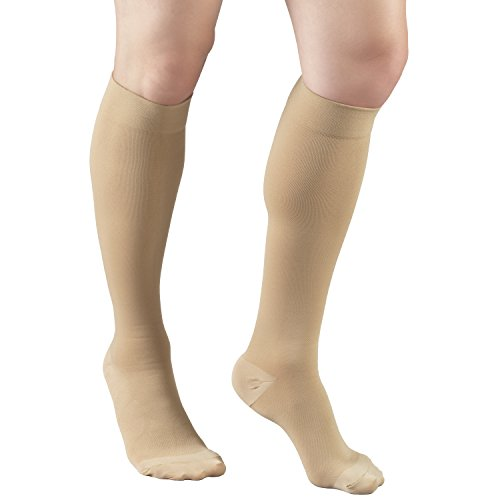 Truform Anti-Embolism Below Knee Closed-Toe Stockings, Beige, Extra Large (Pack of 2)