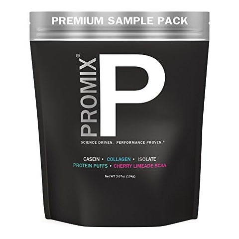 PROMIX: Premium Sample Pack, Casein, Collagen, Cherry Limeade BCAA, Protein Puffs, Grass Fed Whey Isolate