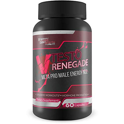 V Testo Renegade Meta Pro - Male Energy - N02 Pills - Help Natural testo Production and Workout Performance with This Nitric Oxide Booster Male Energy Hybrid Formula - Made to Boost Energy and testo