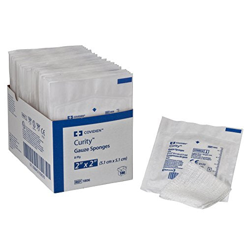 "Covidien 1806 Curity Gauze Sponge, Sterile 2's in Peel-Back Package, 2"" x 2"", 8-ply (Pack of 100)"