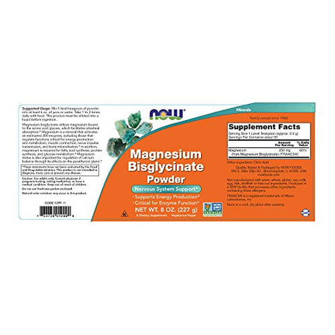 Now Supplements, Magnesium Bisglycinate Powder, 8 Ounce