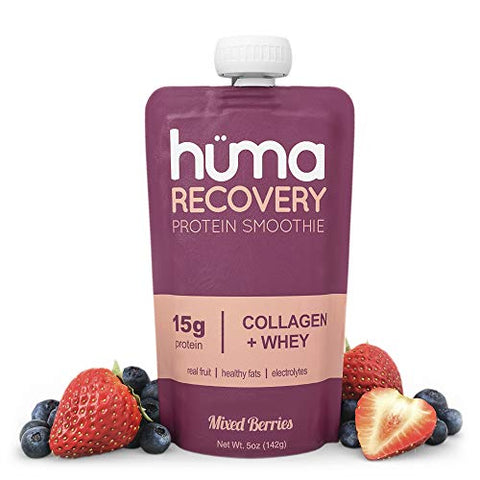 Huma Recovery Protein Smoothie, 6 Pouches  15g Collagen + Whey Post Workout Recovery Drink  Ready-to-Drink Protein Shake with Real Fruit, Electrolytes, Healthy Fats