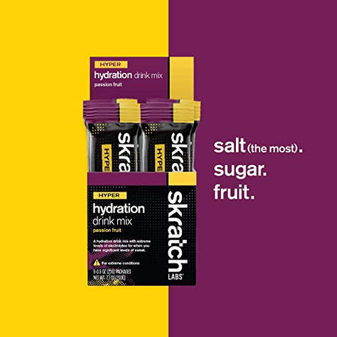SKRATCH LABS Hyper Hydration Drink Mix, Passion Fruit, (8 Pack Single Serving) - High Sodium, Electrolyte Drink Powder Developed for Athletes in Extreme Conditions