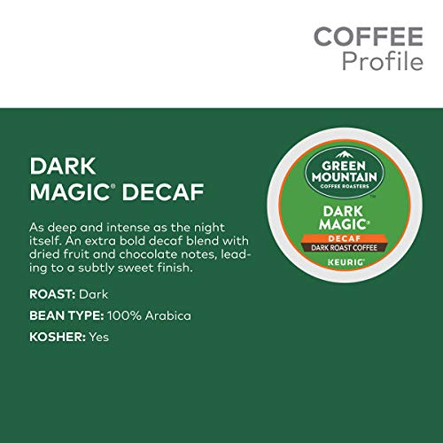 Green Mountain Coffee Roasters Dark Magic Decaf, Single Serve Keurig K Cup Pods, Dark Roast Coffee,