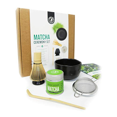 Jade Leaf - Complete Matcha Ceremony Gift Set - Ceremonial Grade Organic Matcha Green Tea Powder Tin, Bamboo Matcha Whisk and Scoop, Stainless Steel Sifter, Stoneware Bowl & Whisk Holder, Prep Guide