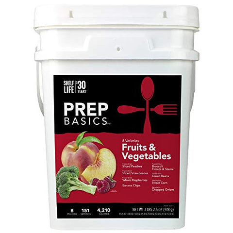 Prep Basics Fruits & Vegetables Variety | Emergency Food Supply |Freeze-Dried and Dehydrated | 4,210 Total Calories | 63 Total Grams Protein | Up to 30 Year Shelf Life | 8 Sealed Pouches