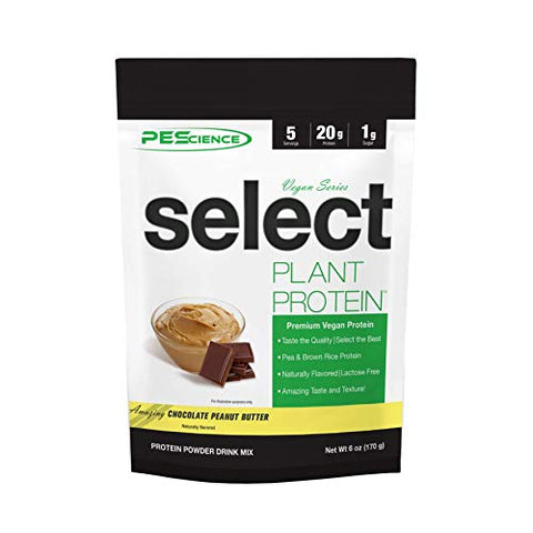 PEScience Select Vegan Plant Based Protein Powder, Chocolate Peanut Butter, 5 Serving, Premium Pea and Brown Rice Blend