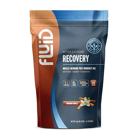 Fluid Recovery, Post-Workout Drink Mix, Pea Protein, L-Glutamine, Carbs, All Natural Ingredients, Gluten-Free, Lactose-Free (Cinnamon Vanilla (Vegan))
