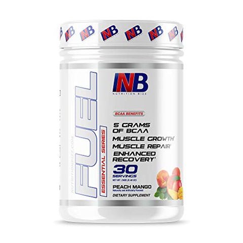 NutritionBizz BCAA Powder, 5 Grams of BCAAs Amino Acids, Post Workout Recovery Drink for Muscle Building, Recovery, and Endurance, 30 Servings (Peach Mango)