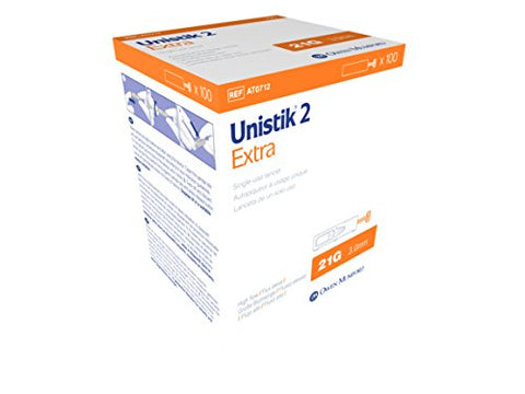 Unistik 2 Extra Safety Lancets, 21G X 3.0mm, 100 Count