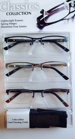 Classics Collection +125, Lightweight Frames, Spring Hinge, Distortion Free Lenses