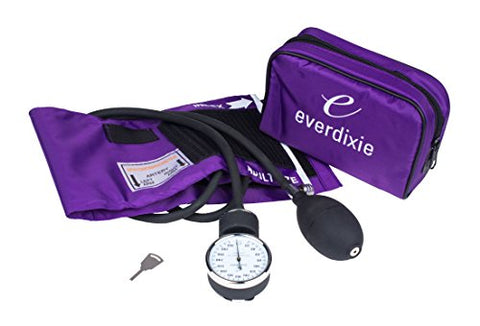 Dixie Ems Purple Deluxe Aneroid Sphygmomanometer Blood Pressure Set W/ Adult Cuff, Carrying Case And
