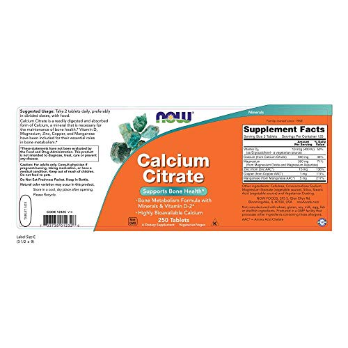 Now Supplements, Calcium Citrate with Vitamin D, Magnesium, Zinc, Copper, and Manganese, 250 Tablets