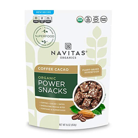 Navitas Organics Superfood Power Snacks, Coffe Cacao, 16 oz. Bag, 23 Servings - Organic, Non-GMO, Gluten-Free