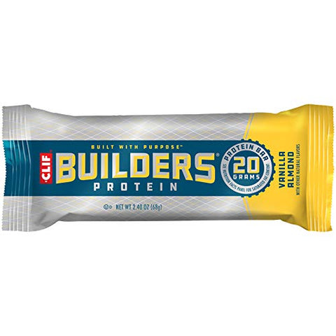 Clif Bar CLIF BUILDERS, Protein Bars, 20g Protein, 2.4 oz, Vanilla Almond, 6 Count