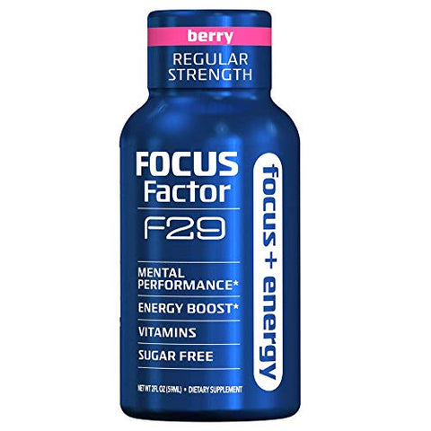 Focus Factor Nootropic Energy Shots, Regular Strength, Energy & Brain Supplement, Mixed Berry (Box of 8)