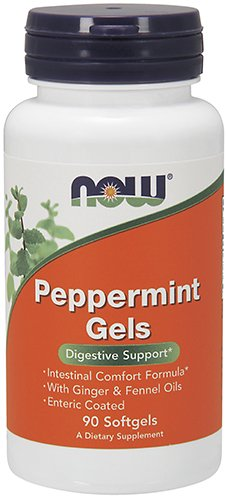 Now Supplements, Peppermint Gels With Ginger & Fennel Oils, Enteric Coated, Digestive Support*, 90 S