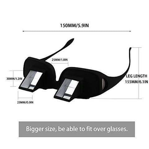 Set of 2 Prism Glasses Lazy Readers Glasses Horizontal Spectacles Laying Down Flat Bed for Read/Watch TV Book Phone Ipad Tablet, Black, Gift for Parents Friends Children
