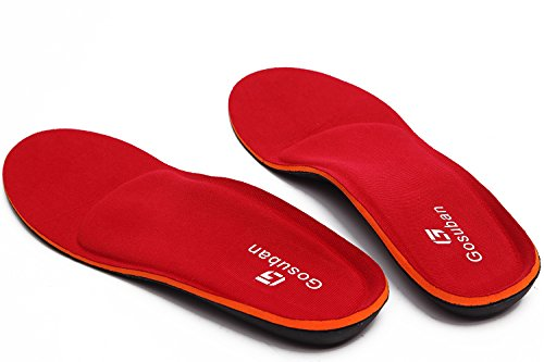 Gosuban Orthotic Insoles for Flat Feet,Arch Support Shoe Inserts Against Plantar Fasciitis,Overpronation,Relieve Heel Pain,Feet Pain,Men and Women,Full Length(Mens 11-11.5 / Womens 13-13.5,Red