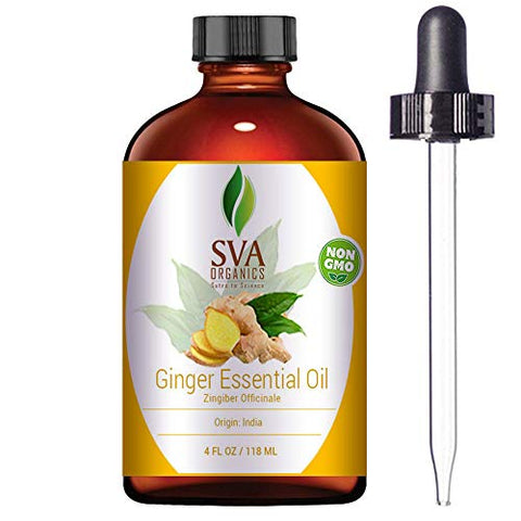 SVA Organics Ginger Essential Oil 4 Oz 100% Pure & Natural Premium Therapeutic Grade Undiluted Steam Distilled Oil With Dropper