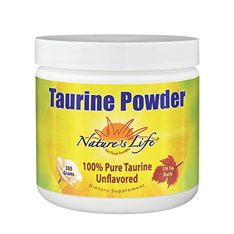 Nature's Life Pure Taurine Powder, Unflavored | Sulfur-Bearing Amino Acid For Healthy Cardiovascular & Nerve Function Support | 335g, 1000mg/serving