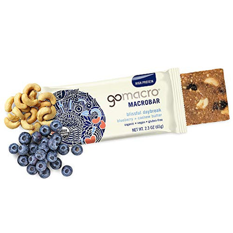 GoMacro Macrobar Organic Vegan Protein Bars - Blueberry + Cashew Butter (2.3 Ounce Bars, 12 Count)