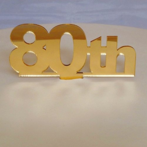 """80th"" Cake Topper Gold Mirror Large"