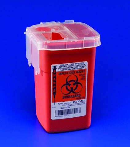 Sharpsafety Autodrop Phlebotomy Container Red/1 qt./6 1/4x4 1/2x4 1/4 inches/1