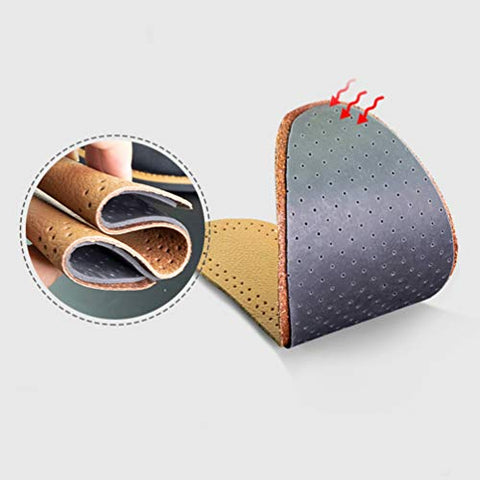 EXCEART 3 Pairs Absorbent Leather Insoles Stinky Feet Foot Shoe Odor Inserts Flats Sweaty Feet Hyperhidrosis Shoe Cushion Size 39-40