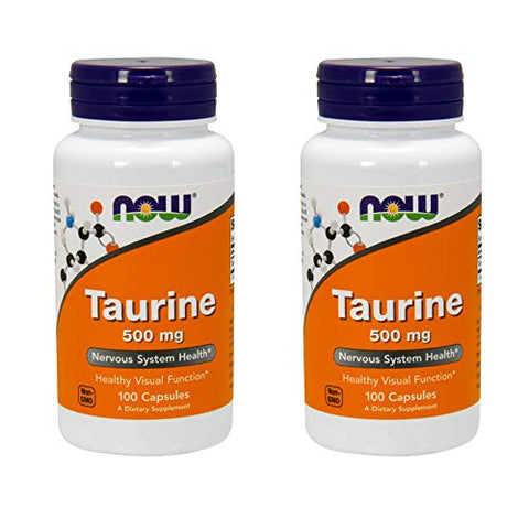 NOW Foods Taurine 500 mg Caps, 2 pk