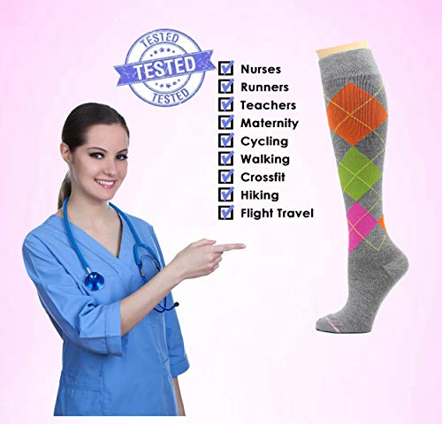 4 Pairs Dr. Motion Therapeutic Graduated Compression Women's Knee-hi Socks... (H)